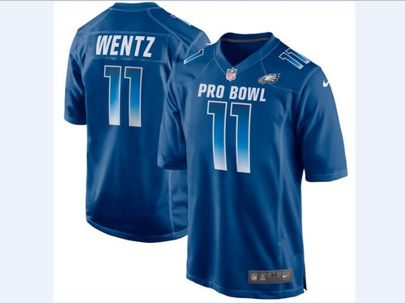 Mens Nfc Nfl Philadelphia Eagles #11 Carson Wentz Blue 2018 Pro Bowl Game Nike Jersey
