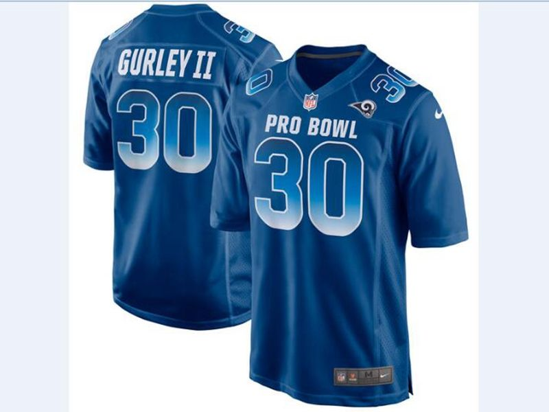 Mens Nfc Nfl Los Angeles Rams #30 Todd Gurley Ii Blue 2018 Pro Bowl Game Nike Jersey