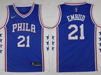 2017-18 Mens Nba Philadelphia 76ers #21 Joel Embiid Blue Swingman Nike Jersey