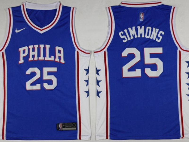 2017-18 Mens Nba Philadelphia 76ers #25 Ben Simmons Blue Swingman Nike Jersey