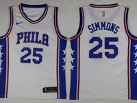 2017-18 Mens Nba Philadelphia 76ers #25 Ben Simmons White Swingman Nike Jersey