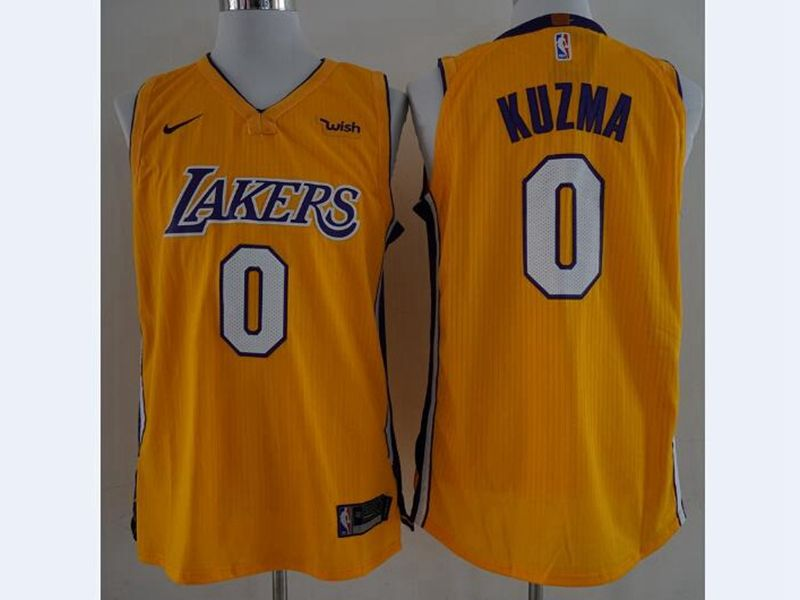 2017-18 New Mens Nba Los Angeles Lakers #0 Kyle Kuzma Yellow Nike Jersey