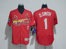 Mens Majestic St.louis Cardinals  #1 Ozzie Smith Red 2017 Spring Training Flex Base Jersey