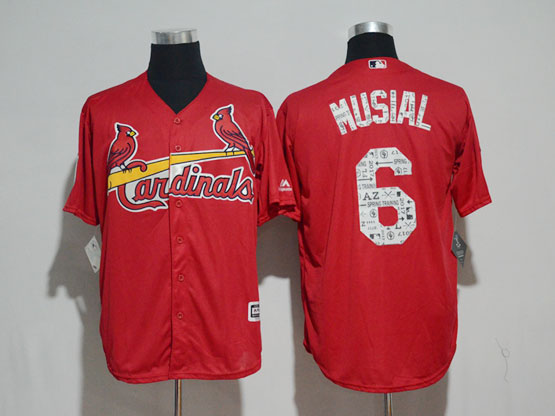 Mens Majestic St.louis Cardinals #6 Stan Musial Red 2017 Spring Training Flex Base Jersey
