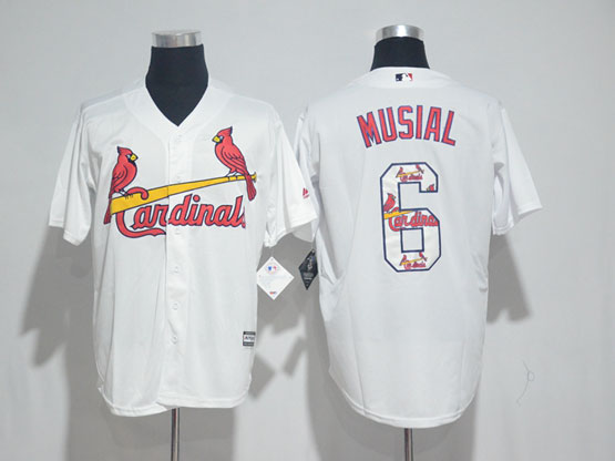 Mens Majestic St.louis Cardinals #6 Stan Musial White Fashion Cool Base Jersey