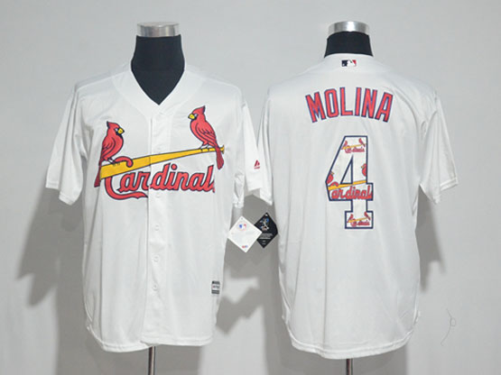 Mens Majestic St.louis Cardinals #4 Yadier Molina White Fashion Cool Base Jersey