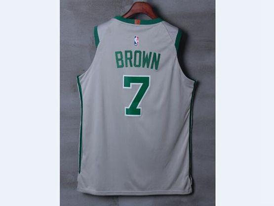 Mens Nba Boston Celtics #7 Jaylen Brown Gray Nike City Jersey