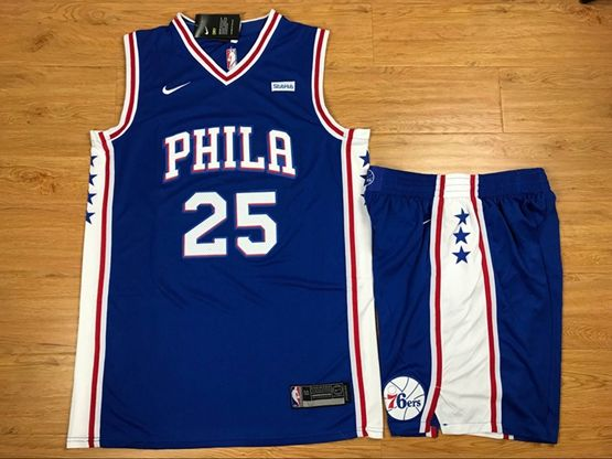 New Mens Nba Philadelphia 76ers #25 Ben Simmons Blue Nike Suit Jersey