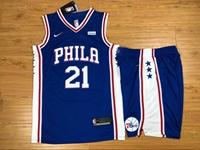 New Mens Nba Philadelphia 76ers #21 Joel Embiid Blue Nike Suit Jersey