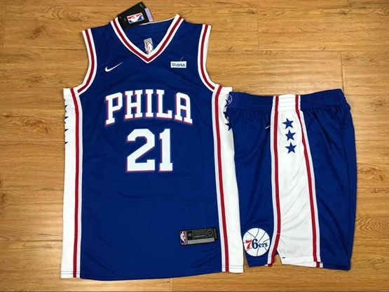 New Mens Nba Philadelphia 76ers #21 Joel Embiid Blue Nike Suit Jersey