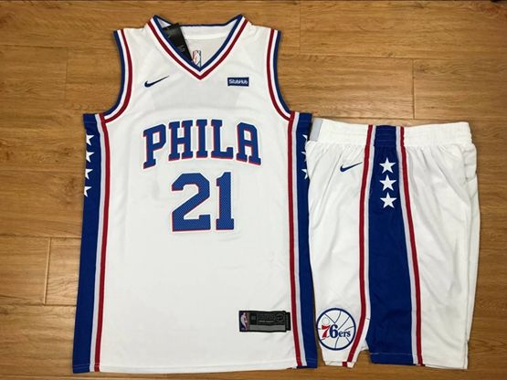 New Mens Nba Philadelphia 76ers #21 Joel Embiid White Nike Suit Jersey