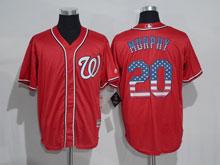 Mens Mlb Washington Nationals #20 Daniel Murphy Red Usa Flag Jersey