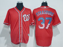 Mens Mlb Washington Nationals #37 Stephen Strasburg Red Usa Flag Jersey