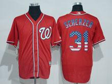 Mens Mlb Washington Nationals #31 Max Scherzer Red Usa Flag Jersey