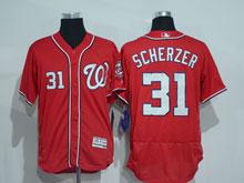 Mens Mlb Washington Nationals #31 Max Scherzer Red Flex Base Jersey