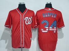 Mens Mlb Washington Nationals #34 Bryce Harper Red Usa Flag Jersey