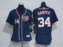 Women Mlb Washington Nationals #34 Bryce Harper Blue Cool Base Jersey