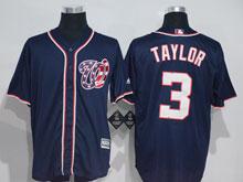 Mens Mlb Washington Nationals #3 Taylor Dark Blue Cool Base Jersey