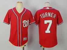 Youth Mlb Washington Nationals #7 Trea Turner Red Cool Base Jersey