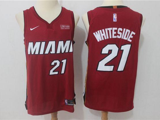 New Mens Nba Miami Heat #21 Hassan Whiteside Red Nike Player Jersey
