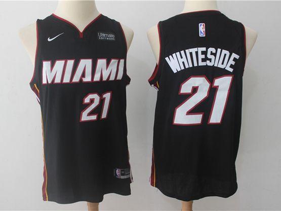 New Mens Nba Miami Heat #21 Hassan Whiteside Black Nike Player Jersey
