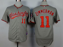 Mens Mlb Washington Nationals #11 Ryan Zimmerman Gray Cool Base Jersey