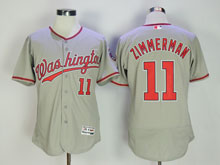 Women Majestic Washington Nationals #11 Ryan Zimmerman Gray Flex Base Jersey