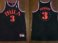 Mens Nba Philadelphia 76ers #3 Allen Iverson Black Star Nike Jersey