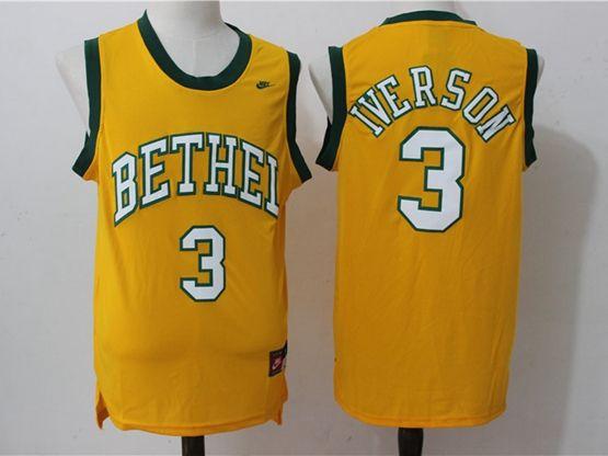 Mens Nba Philadelphia 76ers #3 Allen Iverson Yellow High School Jersey