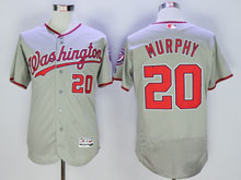 Women Mlb Washington Nationals #20 Daniel Murphy Gray Flex Base Jersey