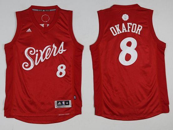 Mens Nba Philadelphia 76ers #8 Jahlil Okafor Christmas Red Jersey