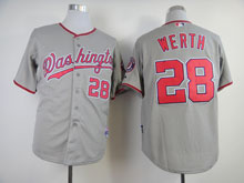 Youth Mlb Washington Nationals #28 Jayson Werth Gray Jersey