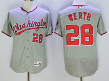 Women Mlb Washington Nationals #28 Jayson Werth Gray Flex Base Jersey