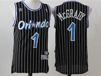 New Mens Nba Orlando Magic #1 Hardaway Black Stripe Jersey