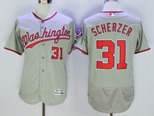 Women Mlb Washington Nationals #31 Max Scherzer Ggray Flex Base Jersey
