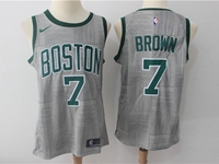 Mens Nba Boston Celtics #7 Jaylen Brown Gray Swingman City Nike Jersey