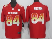 New Nfl Pittsburgh Steelers #84 Antonio Brown Red Nike Royal 2018 Pro Bowl Limited Jersey