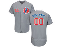 New Mens Women Youth Majestic Chicago Cubs Grey ( Custom Made ) Red Flex Base Jersey