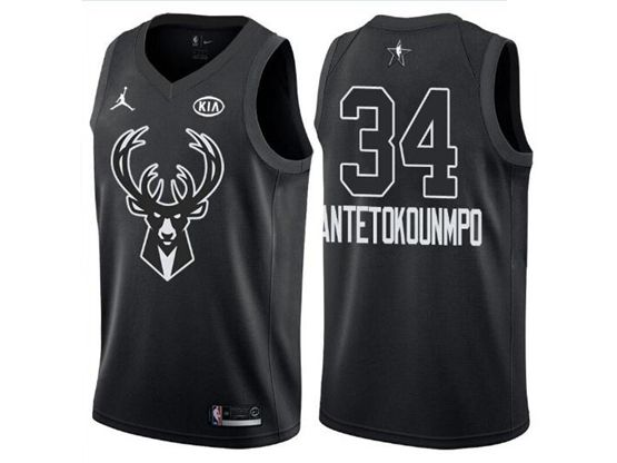Mens Nba Milwaukee Bucks #34 Giannis Antetokounmpo 2018 All Star Black Jersey