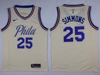 Mens Nba Philadelphia 76ers #25 Ben Simmons Cream City Nike Jersey