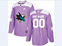 Mens Women Youth Nhl San Jose Sharks (custom Made) Purple Fights Cancer Adidas Practice Jersey