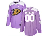 Mens Women Youth Nhl Anaheim Ducks (custom Made) Purple Fights Cancer Adidas Practice Jersey