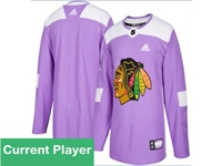 Mens Women Youth Nhl Chicago Blackhawks Purple Fights Cancer Adidas Practice Jersey