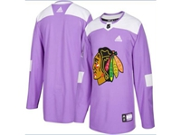 Mens Women Youth Nhl Chicago Blackhawks (custom Made) Purple Fights Cancer Adidas Practice Jersey