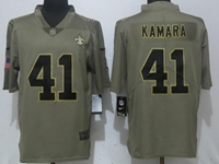 Mens Nfl New Orleans Saints #41 Alvin Kamara Green Olive Salute To Service Nike Limited Jersey