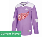 Mens Women Youth Nhl Detroit Red Wings Purple Fights Cancer Adidas Practice Jersey