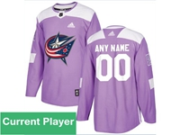 Mens Women Youth Nhl Columbus Blue Jackets Purple Fights Cancer Adidas Practice Jersey