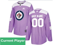 Mens Women Youth Nhl Winnipeg Jets Purple Fights Cancer Adidas Practice Jersey