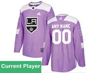 Mens Women Youth Nhl Los Angeles Kings Purple Fights Cancer Adidas Practice Jersey