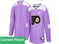 Mens Women Youth Nhl Philadelphia Flyers Purple Fights Cancer Adidas Practice Jersey